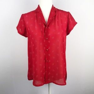 VINTAGE | Red Short Sleeve Button Down Blouse